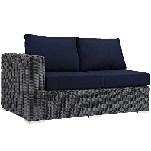 Summon Outdoor Patio Sunbrella Left Arm Loveseat - Canvas Navy