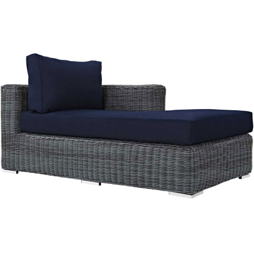 Summon Outdoor Patio Sunbrella Right Arm Chaise - Canvas Navy