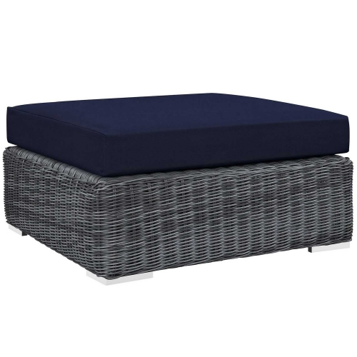 Summon Outdoor Patio Sunbrella Square Ottoman - Canvas Navy