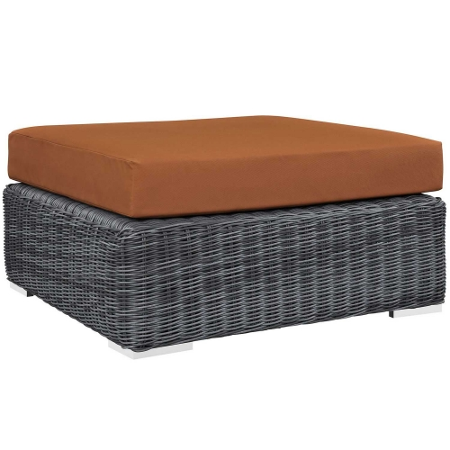Summon Outdoor Patio Sunbrella Square Ottoman - Canvas Tuscan