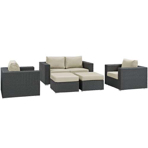 Sojourn 5 Piece Outdoor Patio Sunbrella Sectional Set - Canvas Antique Beige