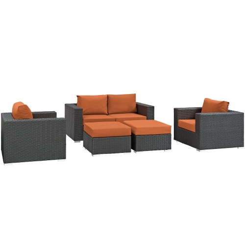 Sojourn 5 Piece Outdoor Patio Sunbrella Sectional Set - Canvas Tuscan