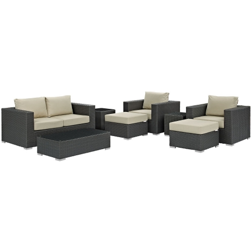 Sojourn 8 Piece Outdoor Patio Sunbrella Sectional Set - Canvas Antique Beige