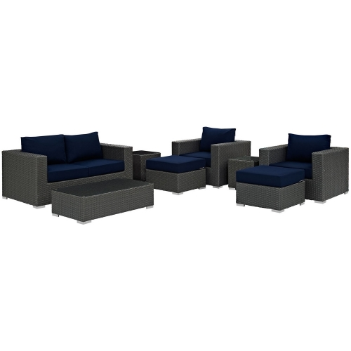 Sojourn 8 Piece Outdoor Patio Sunbrella Sectional Set - Canvas Navy