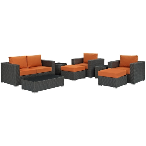Sojourn 8 Piece Outdoor Patio Sunbrella Sectional Set - Canvas Tuscan