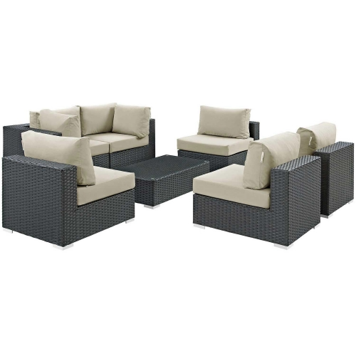 Sojourn 7 Piece Outdoor Patio Sunbrella Sectional Set - Canvas Antique Beige