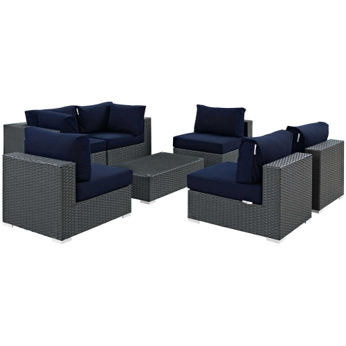 Sojourn 7 Piece Outdoor Patio Sunbrella Sectional Set - Canvas Navy