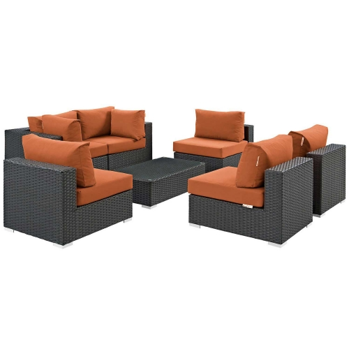 Sojourn 7 Piece Outdoor Patio Sunbrella Sectional Set - Canvas Tuscan