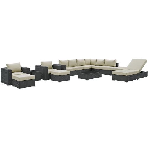 Sojourn 12 Piece Outdoor Patio Sunbrella Sectional Set - Canvas Antique Beige