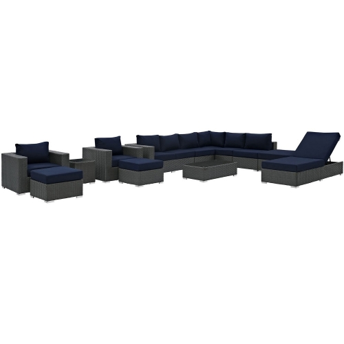 Sojourn 12 Piece Outdoor Patio Sunbrella Sectional Set - Canvas Navy