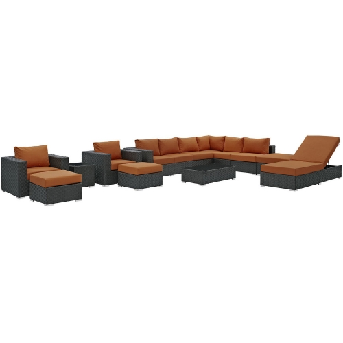 Sojourn 12 Piece Outdoor Patio Sunbrella Sectional Set - Canvas Tuscan
