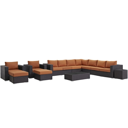 Sojourn 11 Piece Outdoor Patio Sunbrella Sectional Set - Canvas Tuscan