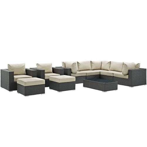Sojourn 10 Piece Outdoor Patio Sunbrella Sectional Set - Canvas Antique Beige