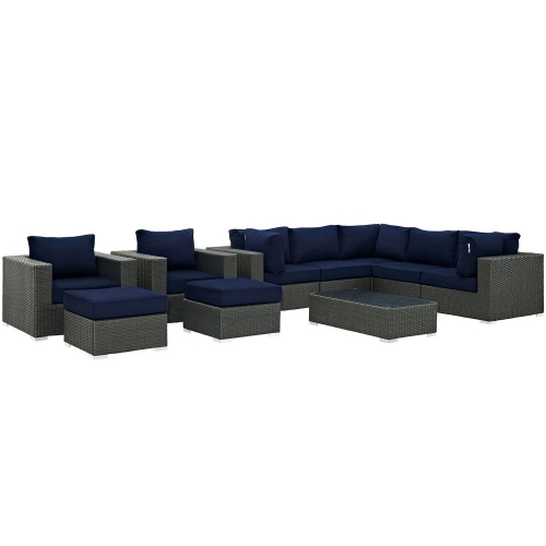 Modway Sojourn 10 Piece Outdoor Patio Sunbrella Sectional Set - Canvas Navy