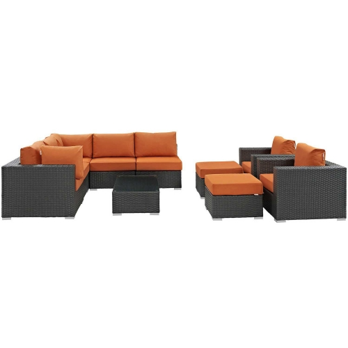 Sojourn 10 Piece Outdoor Patio Sunbrella Sectional Set - Canvas Tuscan