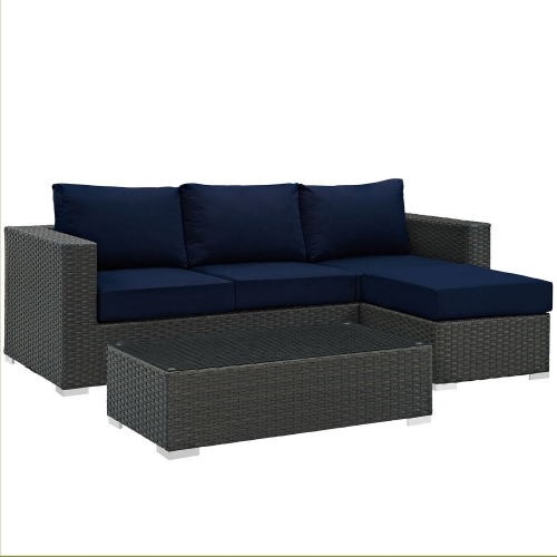 Sojourn 3 Piece Outdoor Patio Sunbrella Sectional Set - Canvas Navy