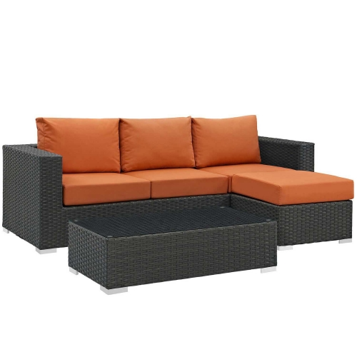 Sojourn 3 Piece Outdoor Patio Sunbrella Sectional Set - Canvas Tuscan
