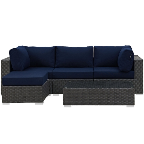 Sojourn 5 Piece Outdoor Patio Sunbrella Sectional Set - Canvas Navy