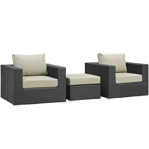 Sojourn 3 Piece Outdoor Patio Sunbrella Sectional Set - Canvas Antique Beige