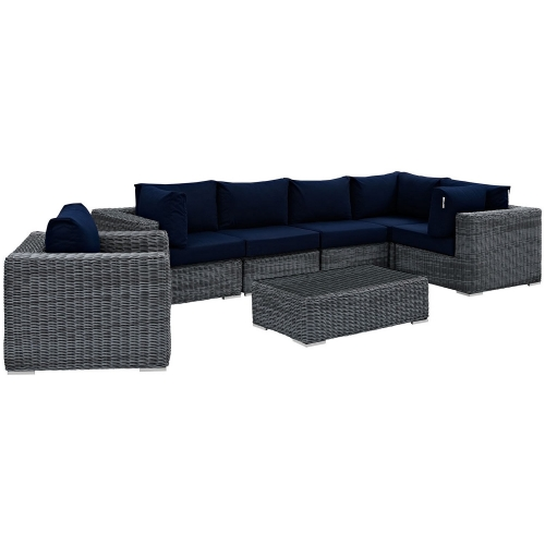 Summon 7 Piece Outdoor Patio Sunbrella Sectional Set - Canvas Navy