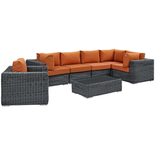 Summon 7 Piece Outdoor Patio Sunbrella Sectional Set - Canvas Tuscan