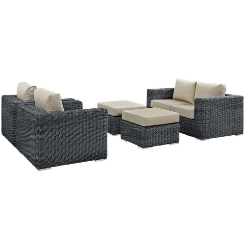 Summon 5 Piece Outdoor Patio Sunbrella Sectional Set - Canvas Antique Beige