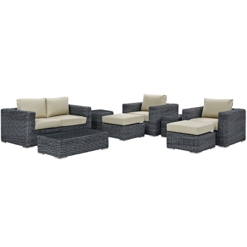 Summon 8 Piece Outdoor Patio Sunbrella Sectional Set - Canvas Antique Beige