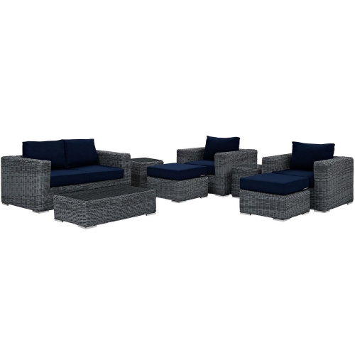 Summon 8 Piece Outdoor Patio Sunbrella Sectional Set - Canvas Navy