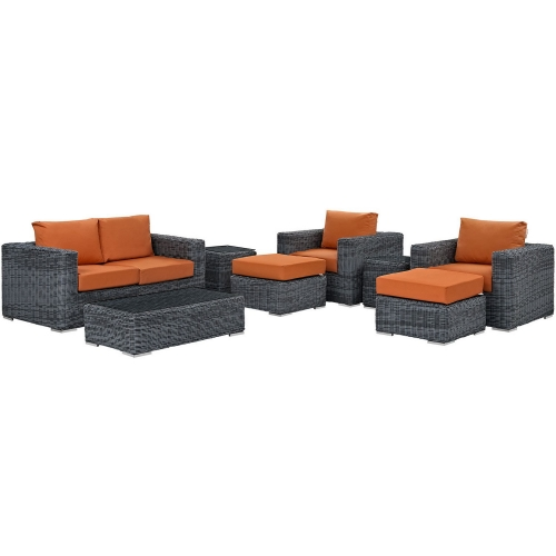 Summon 8 Piece Outdoor Patio Sunbrella Sectional Set - Canvas Tuscan