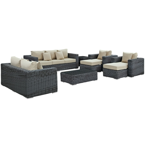 Summon 9 Piece Outdoor Patio Sunbrella Sectional Set - Canvas Antique Beige