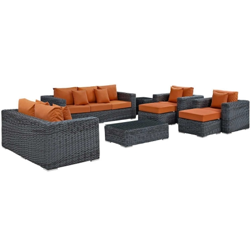 Summon 9 Piece Outdoor Patio Sunbrella Sectional Set - Canvas Tuscan