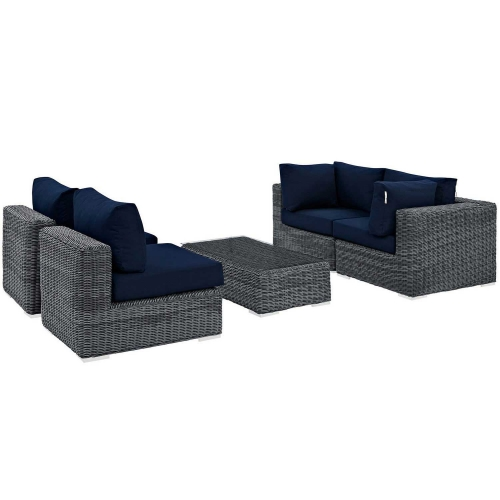 Summon 5 Piece Outdoor Patio Sunbrella Sectional Set - Canvas Navy