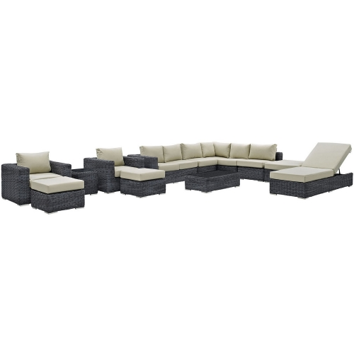 Summon 12 Piece Outdoor Patio Sunbrella Sectional Set - Canvas Antique Beige