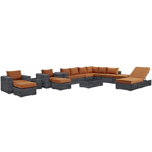 Summon 12 Piece Outdoor Patio Sunbrella Sectional Set - Canvas Tuscan