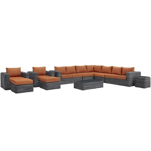 Summon 11 Piece Outdoor Patio Sunbrella Sectional Set - Canvas Tuscan