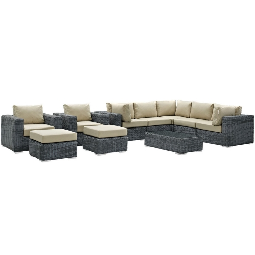 Summon 10 Piece Outdoor Patio Sunbrella Sectional Set - Canvas Antique Beige
