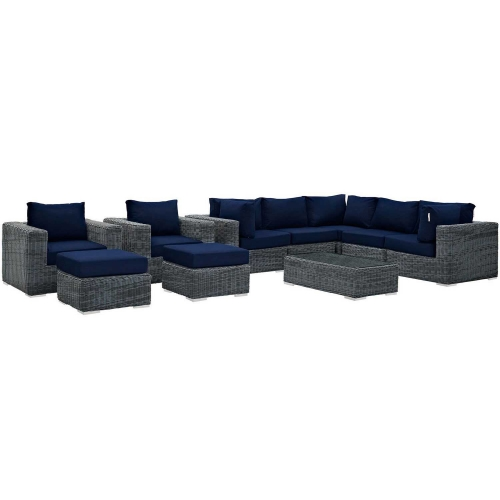 Summon 10 Piece Outdoor Patio Sunbrella Sectional Set - Canvas Navy