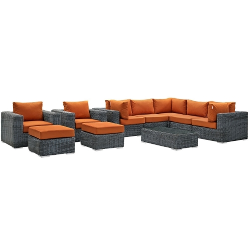Summon 10 Piece Outdoor Patio Sunbrella Sectional Set - Canvas Tuscan