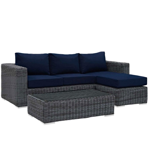 Summon 3 Piece Outdoor Patio Sunbrella Sectional Set - Canvas Navy