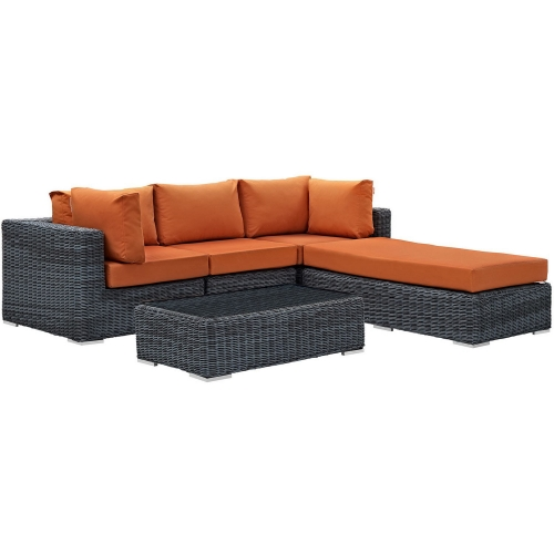 Summon 5 Piece Outdoor Patio Sunbrella Sectional Set - Canvas Tuscan