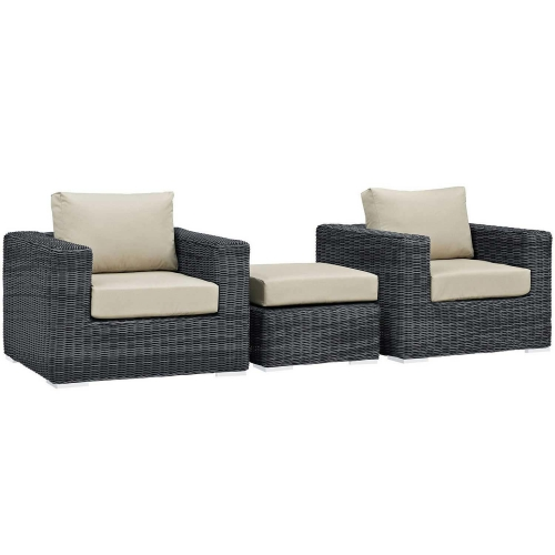 Summon 3 Piece Outdoor Patio Sunbrella Sectional Set - Canvas Antique Beige