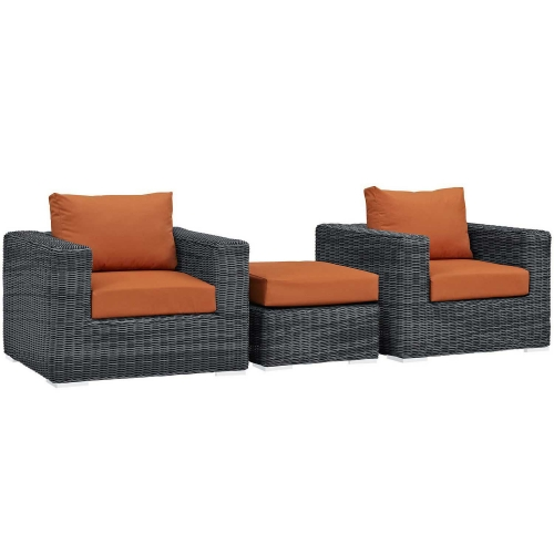 Summon 3 Piece Outdoor Patio Sunbrella Sectional Set - Canvas Tuscan