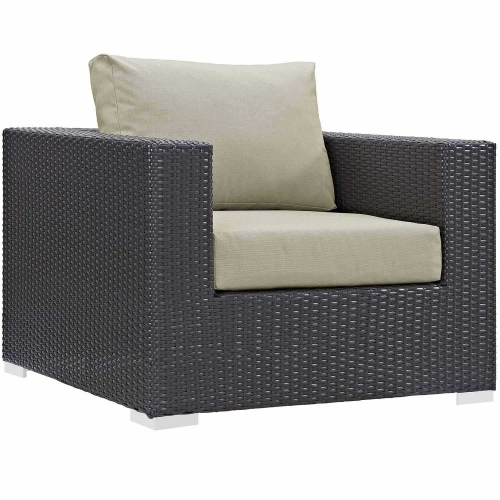 Convene Outdoor Patio Arm Chair - Espresso Beige