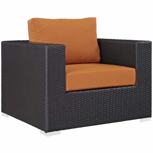 Convene Outdoor Patio Arm Chair - Espresso Orange