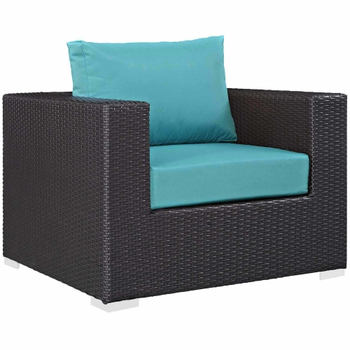 Convene Outdoor Patio Arm Chair - Espresso Turquoise