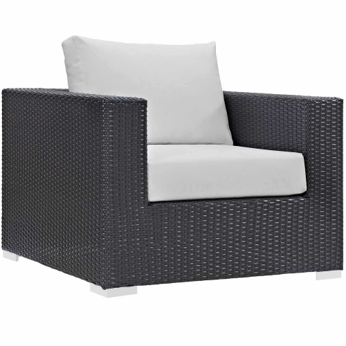 Convene Outdoor Patio Arm Chair - Espresso White Espresso White