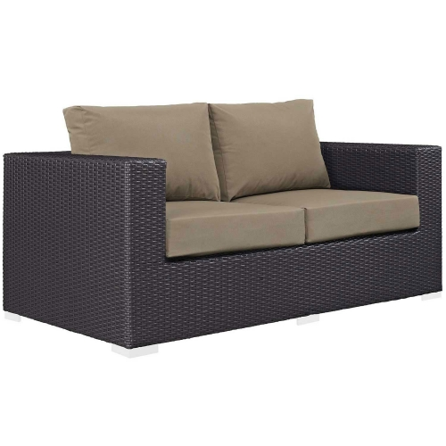 Convene Outdoor Patio Loveseat - Espresso Mocha