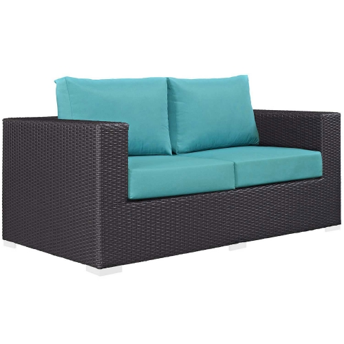 Convene Outdoor Patio Loveseat - Espresso Turquoise