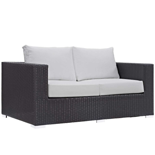 Convene Outdoor Patio Loveseat - Espresso White