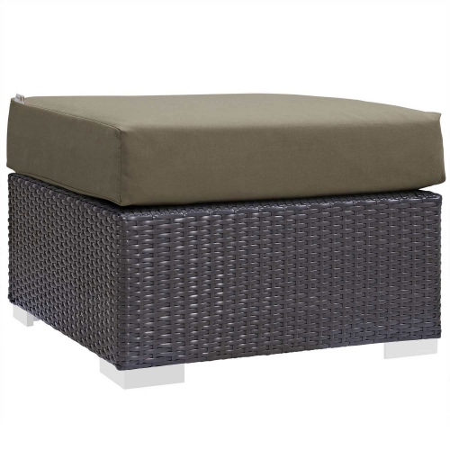 Convene Outdoor Patio Fabric Square Ottoman - Espresso Mocha